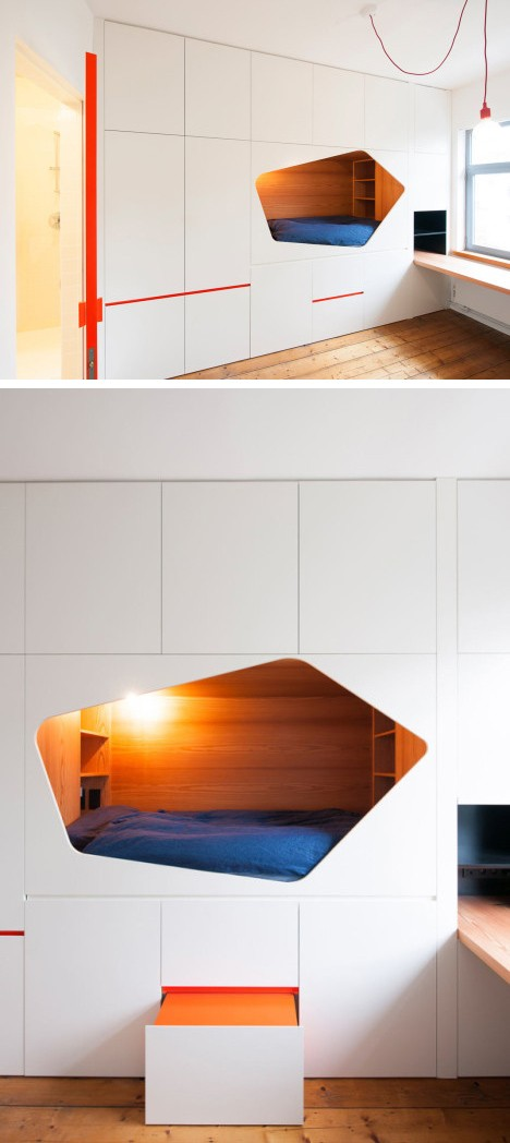 шкаф со встроенной нишей с кроватью