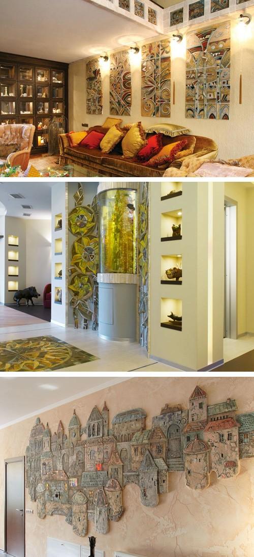 керамические панно в интерьере