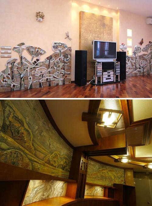декорирование стен керамикой