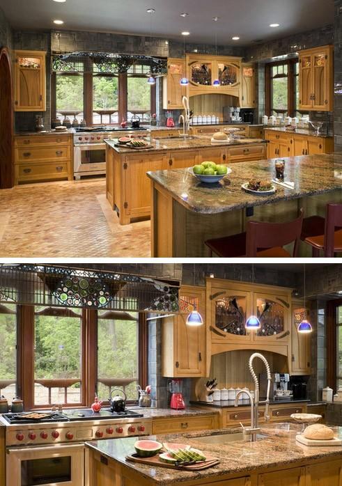 витражный декор в интерьере кухни
