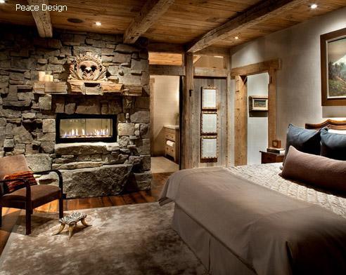 спальня рустик с газовым камином