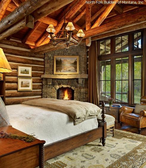 красивая спальня с декорированием в стиле рустик