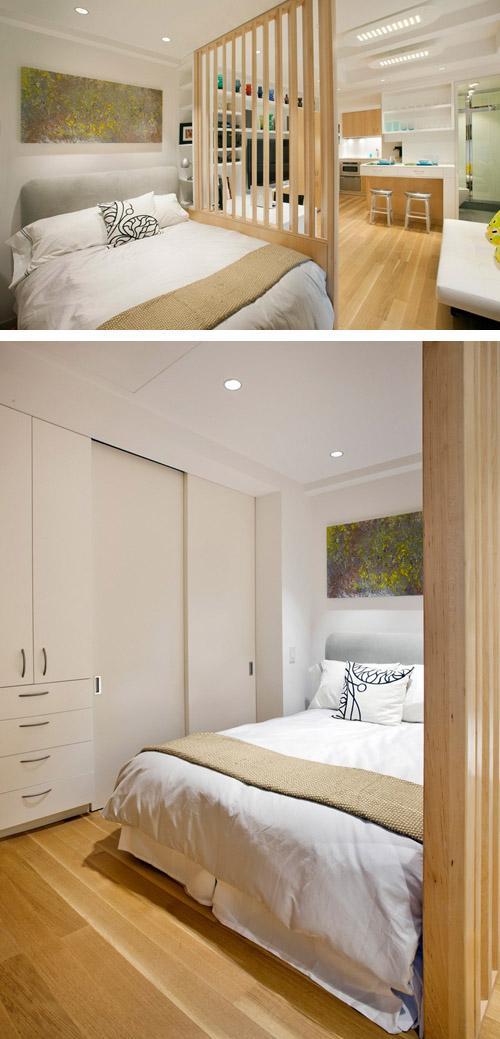 спальня в маленькой студии