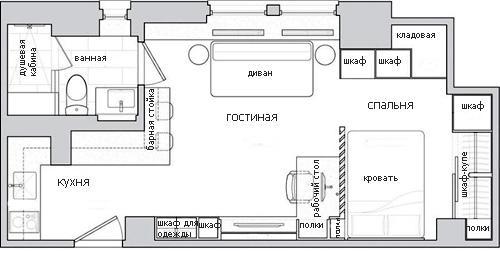 планировка прямоугольной студии 30 м2