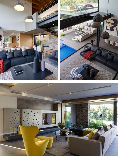 открытая гостиная современного стиля