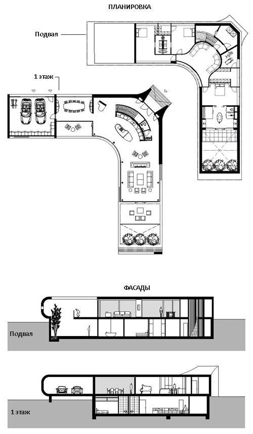 поэтажный план виллы с жилым подвалом