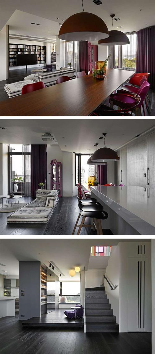 яркий декор черно-белой гостиной