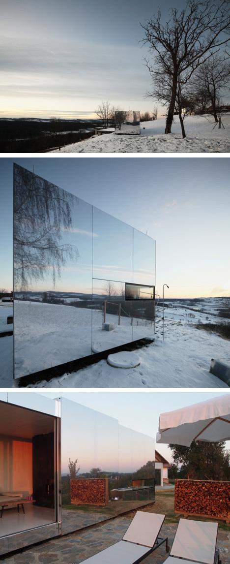модульный зеркальный дом
