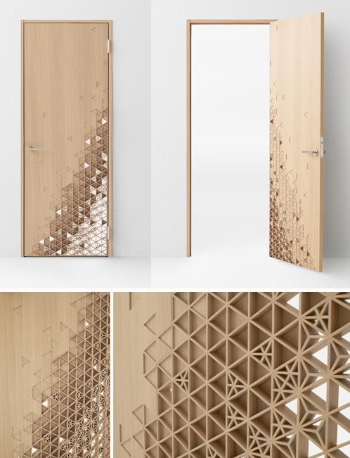 деревянная дверь с элементами ручной работы