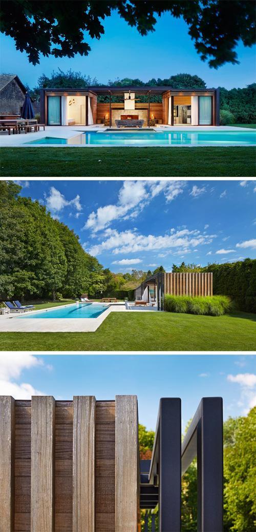 летний металлокаркасный домик возле бассейна