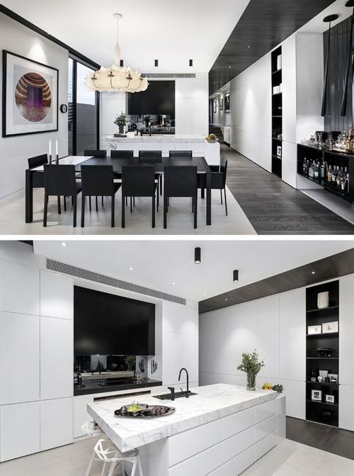 открытая кухня и столовая