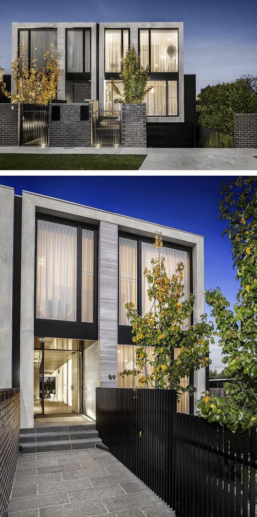 современный дом с черно-белым фасадом