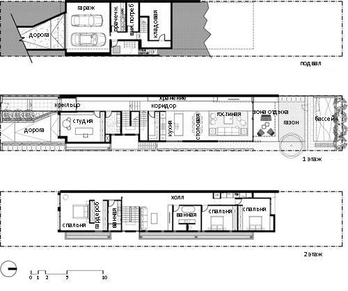 планировка длинного узкого дома