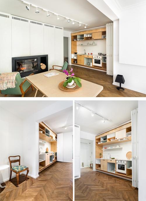 линейная кухня шкаф в студии
