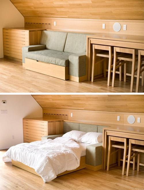 диван кровать в жилой студии