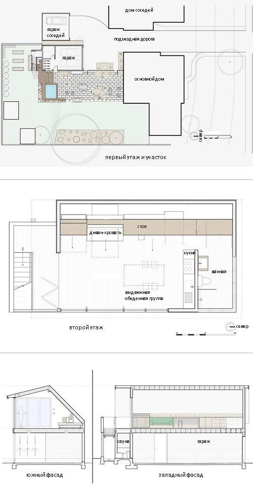 план жилого гаража со студией