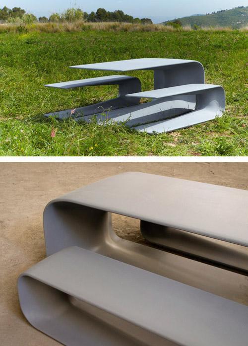 бетонные скамьи и столы