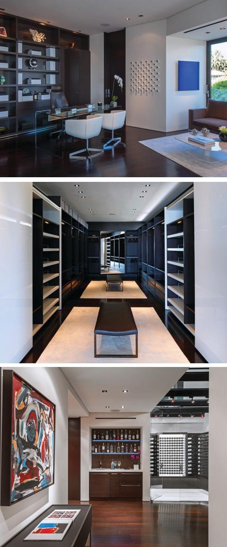 кабинет, гардеробная и хранилище вина в частном доме