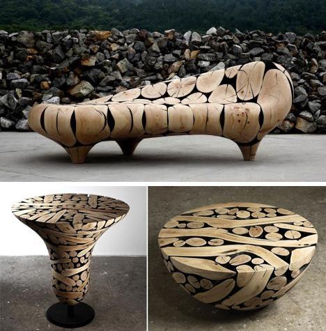 диван и столы из обожженных веток