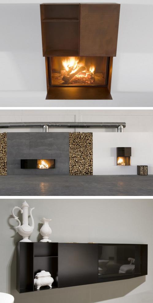 варианты горизонтального и вертикального размещения элементов камина