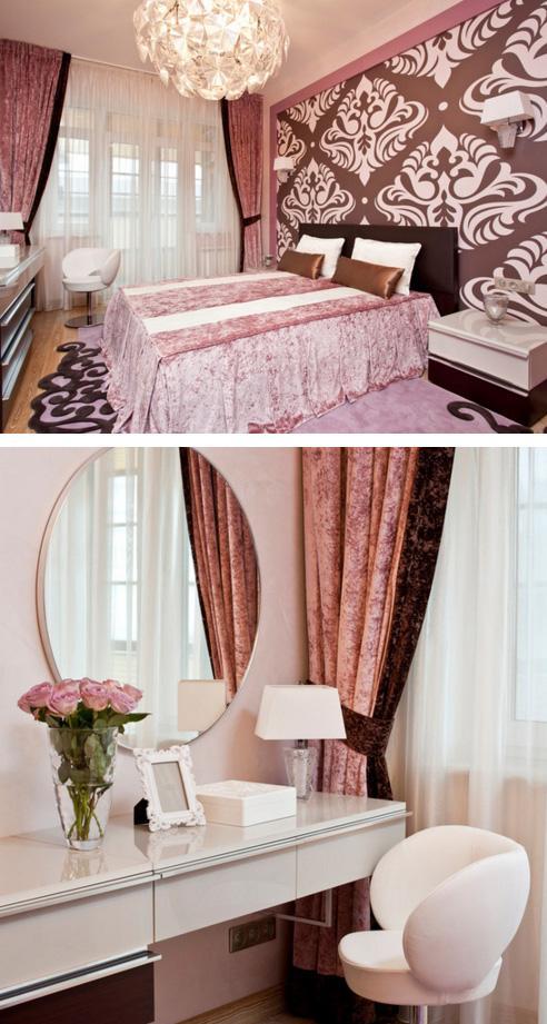 женственный интерьер спальни