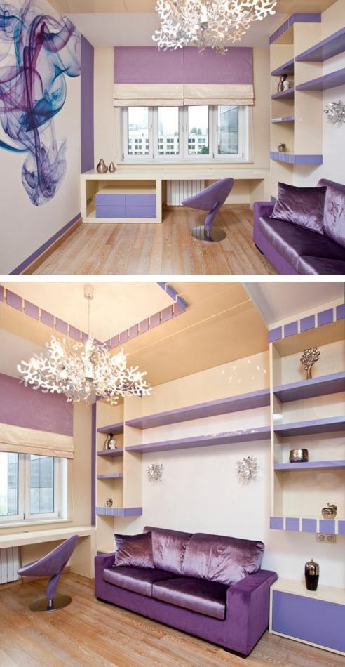 комната в бежево-фиолетовой гамме