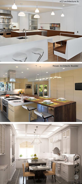 дизайн кухонных островов с переменной высотой столешницы