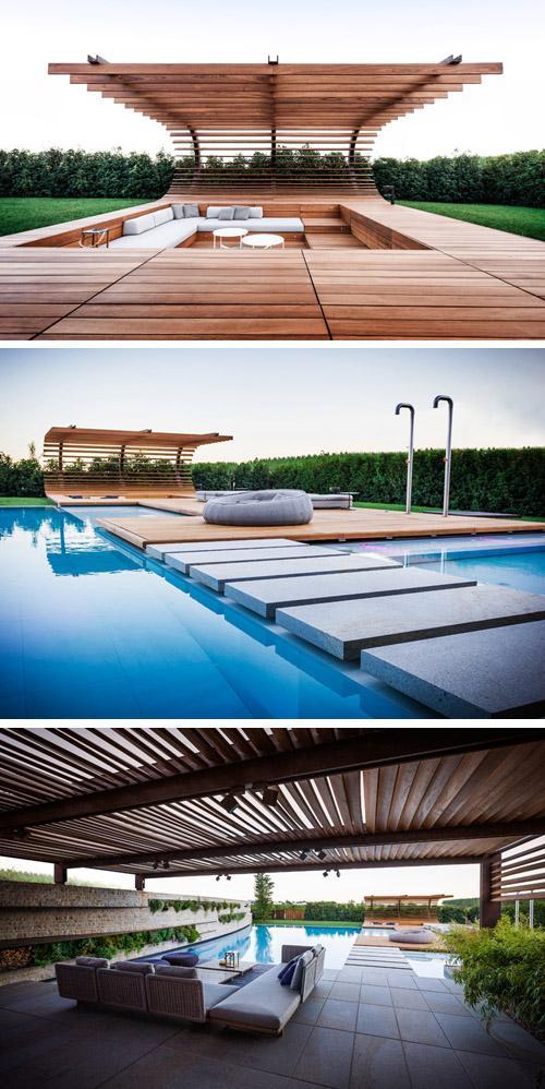 три зоны отдыха вокруг бассейна