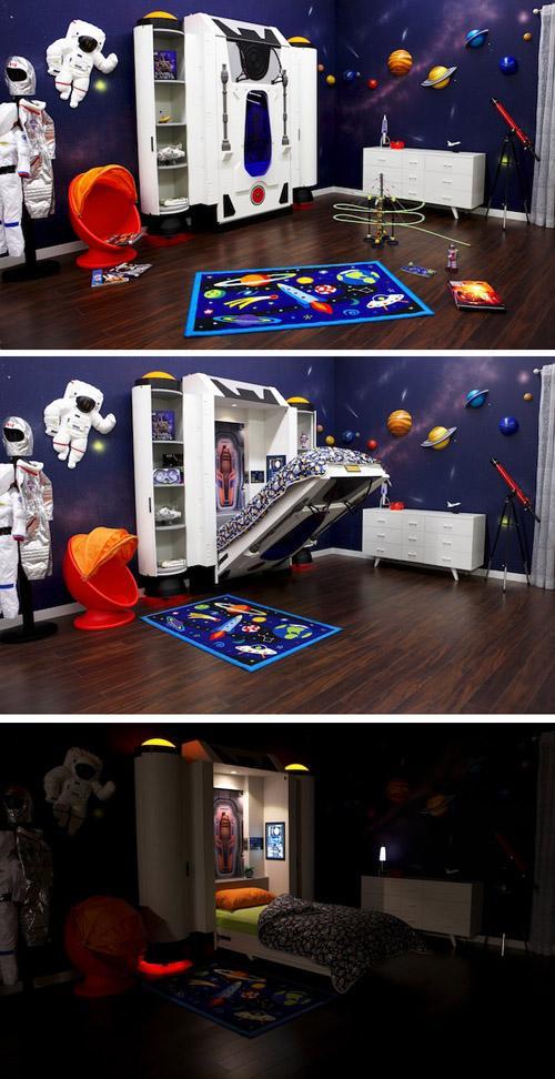 откидная кровать в космическом стиле