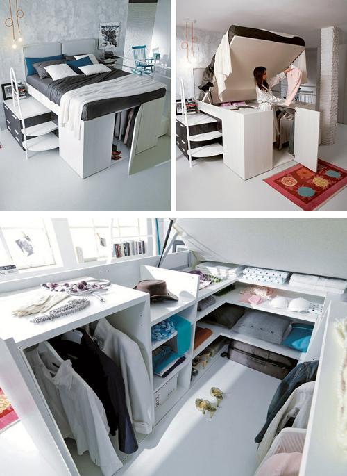 вместительная гардеробная под кроватью