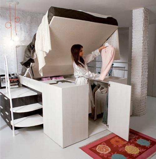 подъмная кровать со встроенной гардеробной