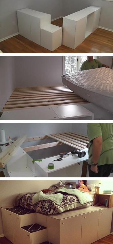 кровать с основанием из кухонных шкафов