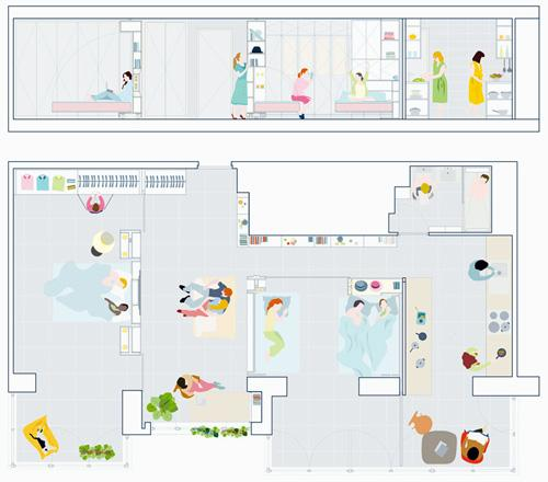 вариант планировки интерьера с дополнительной спальней