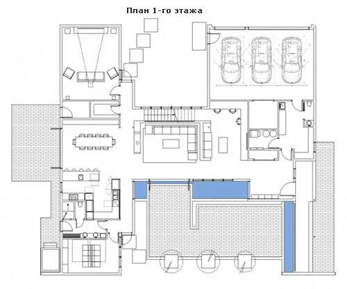 план первого этажа в виде буквы Н