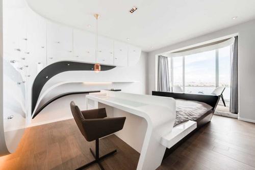 футуристическая спальня с деревянным полом
