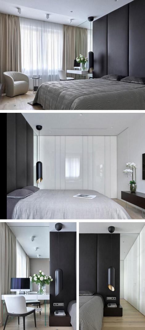 спальня с высоким текстильным изголовьем