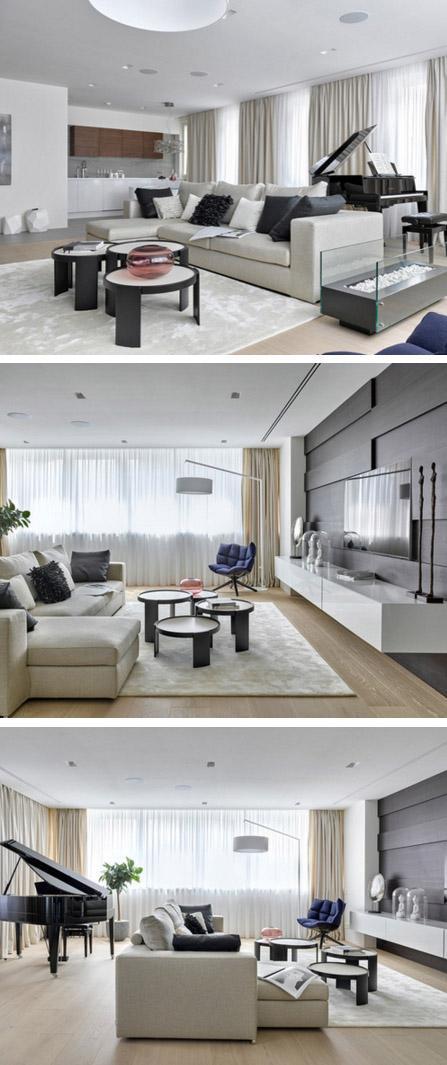 черно-белая гостиная с деревянным полом