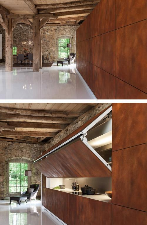 кухня со складными фасадами
