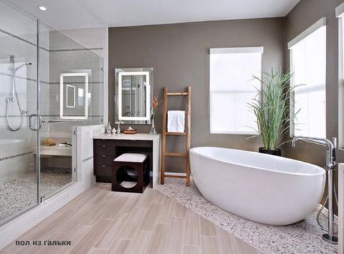 пол из гальки в ванной