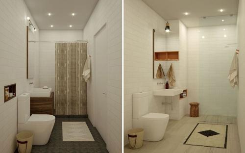 маленькие ванные с белой плиткой