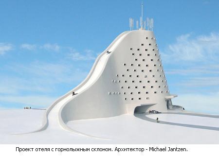 отель с горнолыжным склоном с крыши