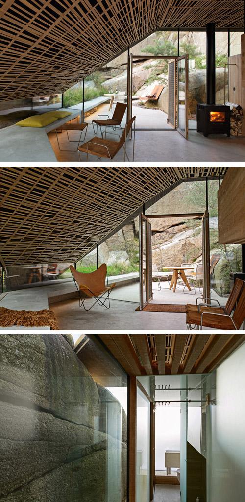 современный интерьер с бетонной скамьей