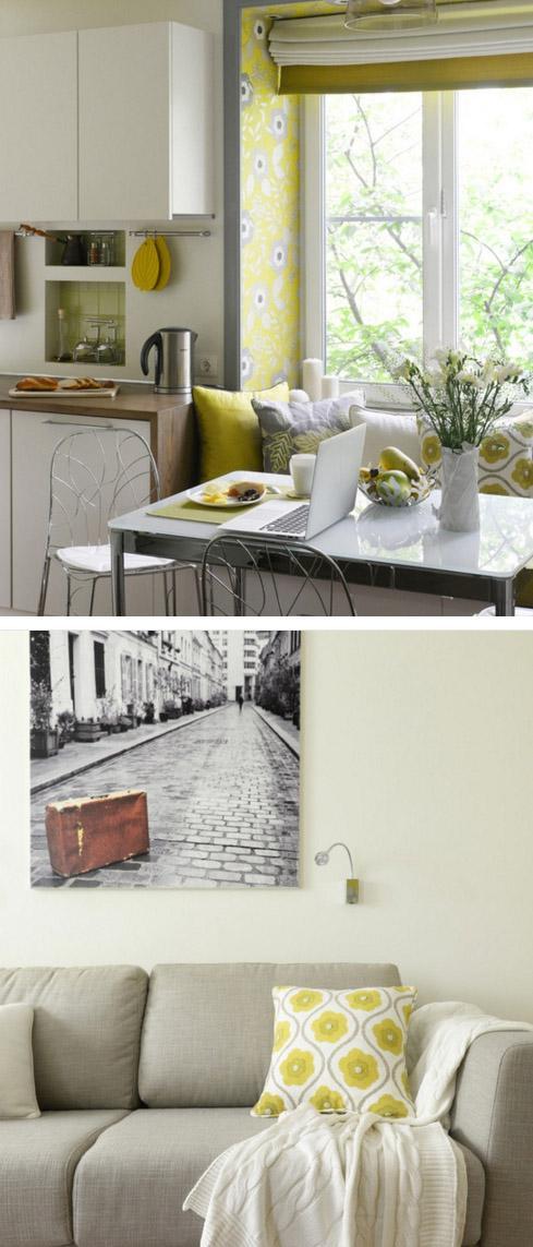 гостиная и зона столовой со встроенным диваном