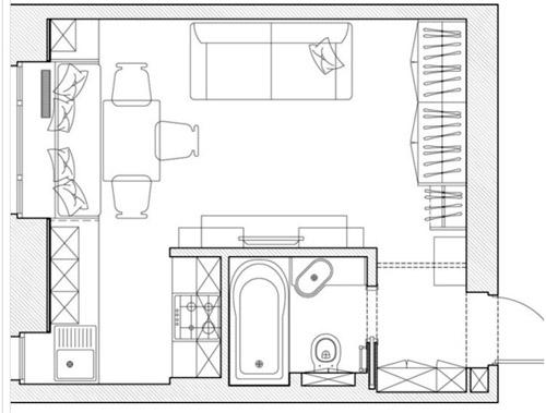 план квартиры 23 м2