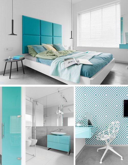спальня и ванная с голубыми акцентами