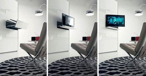 выдвижная стойка с телевизором в шкафу