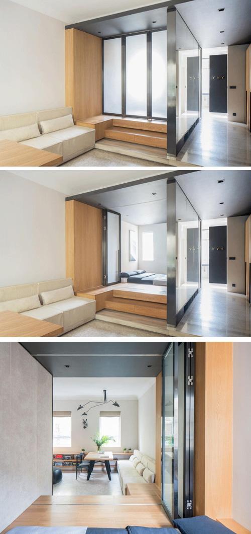 спальня на подиуме в маленькой квартире