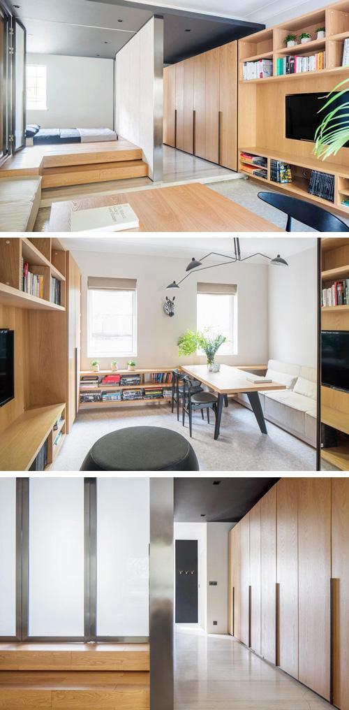 дизайн гостиной и холла со встроенной мебелью