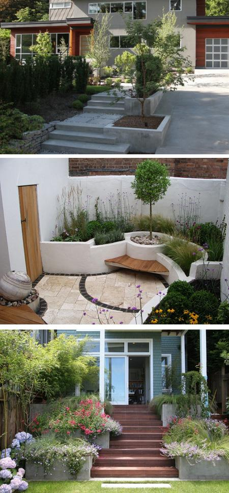 интегрированные бетонные клумбы