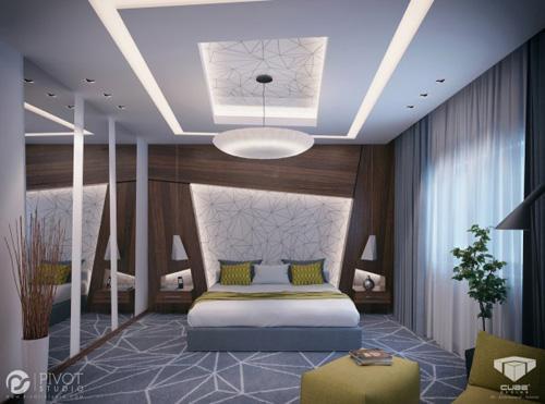 геометрический декор в интерьере спальни